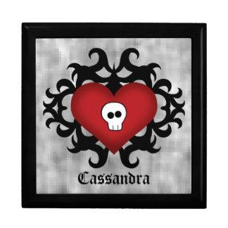 Negro y rojo góticos lindos estupendos del corazón joyero cuadrado grande
