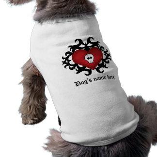 Negro y rojo góticos lindos estupendos del corazón playera sin mangas para perro
