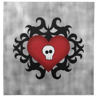Negro y rojo góticos lindos estupendos del corazón servilleta de papel