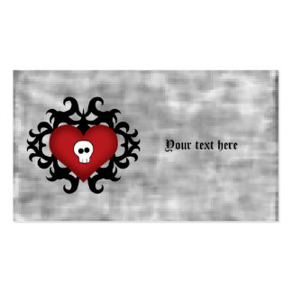 Negro y rojo góticos lindos estupendos del corazón tarjetas de visita