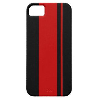 Negro y rojo que compiten con las rayas - coche de iPhone 5 Case-Mate cárcasa