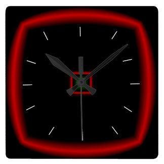 Negro y rojo > reloj cuadrado