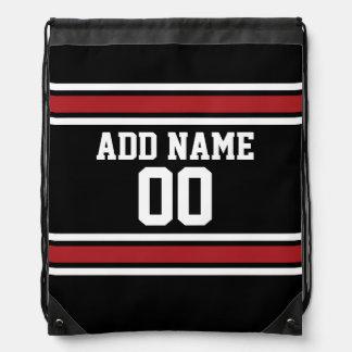 Negro y rojo se divierte número conocido de mochila