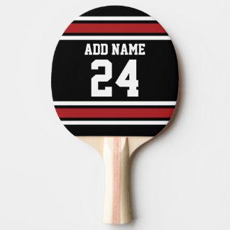 Negro y rojo se divierte número conocido de pala de tenis de mesa
