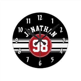 Negro y rojo se divierte número conocido de reloj redondo mediano