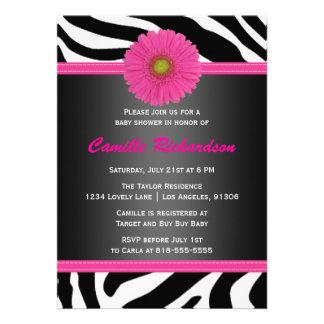 Negro y rosa cebra invitación de la fiesta de bi