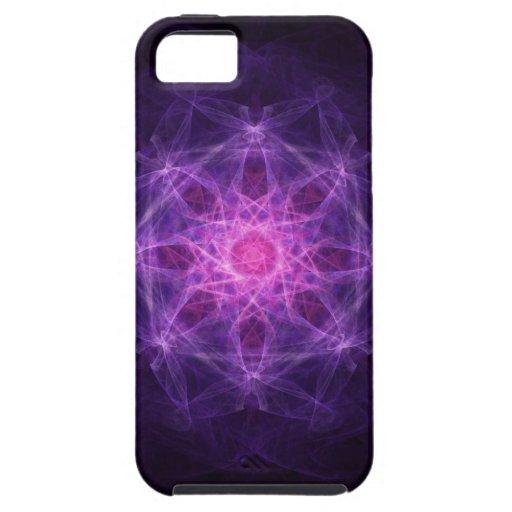 negro y rosa del arte del fractal del caso del iPh iPhone 5 Carcasas
