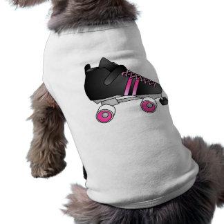 Negro y rosa del patín de Derby del rodillo Playera Sin Mangas Para Perro