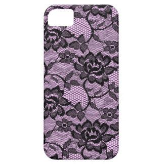 Negro y rosa florales del cordón 311 iPhone 5 protectores