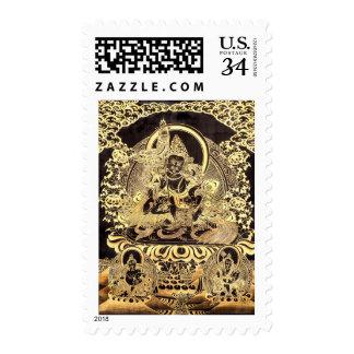 Negro y sello budista tibetano del arte del oro