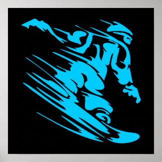 Negro y silueta del Snowboarder de la aguamarina Póster