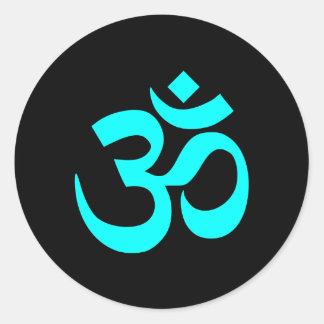 Negro y símbolo de OM de la aguamarina Pegatinas Redondas