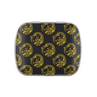 Negro y símbolo oriental del dragón del oro frascos de caramelos