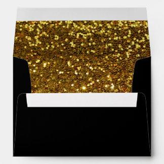 Negro y sobres 5x7 de las lentejuelas del oro