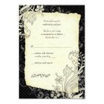 Negro y tarjeta de contestación floral de marfil invitacion personal
