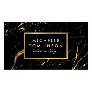 Negro y tarjeta de visita de mármol del diseñador