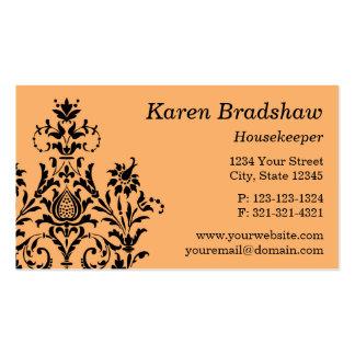 Negro y tarjeta de visita floral anaranjada del