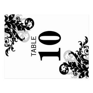 Negro y tarjeta del número de la tabla del postal