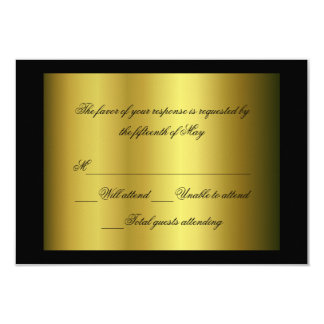Negro y tarjeta formal de la respuesta del oro invitacion personalizada