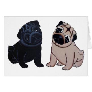 Negro y tarjetas de felicitación de los perritos d