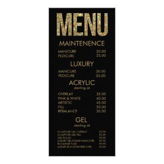 Negro y tarjetas del menú del salón de la tipograf lonas publicitarias