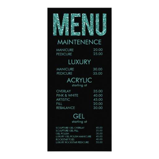 Negro y tarjetas del menú del salón de la tipograf tarjetas publicitarias a todo color
