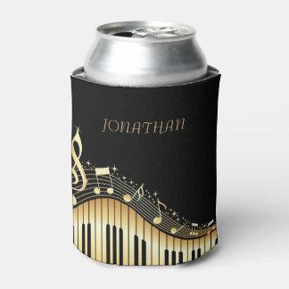 Negro y teclado del oro con las notas musicales enfriador de latas