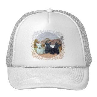 Negro y terrieres escoceses de trigo gorras de camionero