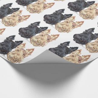 Negro y terrieres escoceses de trigo papel de regalo
