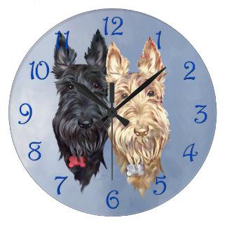 Negro y terrieres escoceses de trigo reloj redondo grande