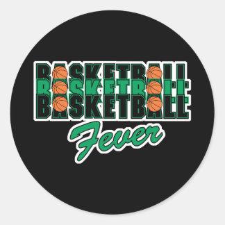 negro y verde del baloncesto pegatina redonda