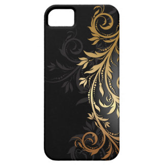 Negro y vid floral del oro iPhone 5 Case-Mate funda