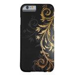 Negro y vid floral del oro funda de iPhone 6 slim