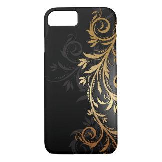 Negro y vid floral del oro funda iPhone 7