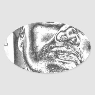 negro y white.jpg del spadelocsta pegatina ovalada