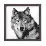 Negro y White Wolf Caja De Joyas De Calidad