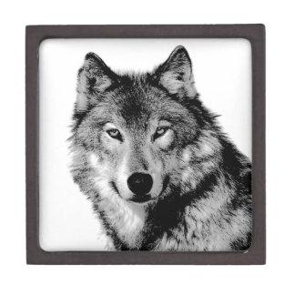 Negro y White Wolf Caja De Regalo De Calidad