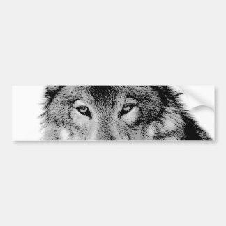 Negro y White Wolf Pegatina De Parachoque