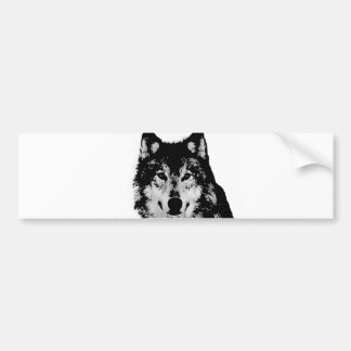 Negro y White Wolf Etiqueta De Parachoque