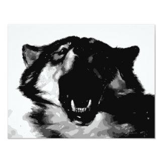 """Negro y White Wolf Invitación 4.25"""" X 5.5"""""""
