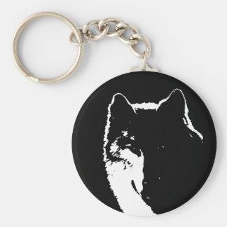 Negro y White Wolf Llaveros Personalizados
