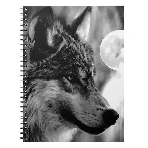 Negro y White Wolf, luna y cuaderno de la noche