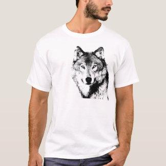 Negro y White Wolf Playera