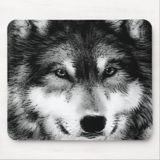 Negro y White Wolf Tapete De Ratones