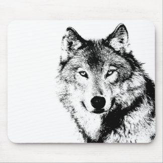 Negro y White Wolf Alfombrillas De Raton
