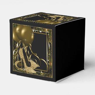 Negro y zapato del tacón alto del brillo del oro cajas para regalos de boda
