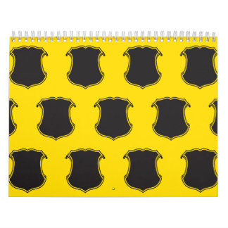Negro Yellow.ai del escudo del escudo Calendario De Pared