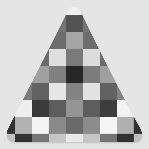 Negros, blancos, y sombras de grises pegatina triangular