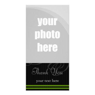 "Negros elegantes/el verde ""le agradecen "" tarjeta fotografica personalizada"