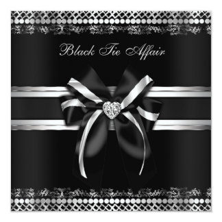 Negros y de plata con clase invitan invitación personalizada
